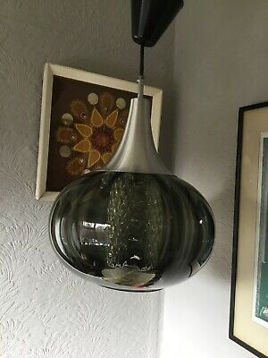 Vintage Mid Century Smoked & Hobnail Glass Double Shade Light-Guzzini/Eames#5183