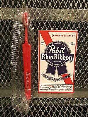 PBR PABST BLUE RIBBON Beer ~ NEW ~ Full Size TOOTHBRUSH w FREE STICKER