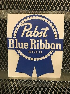 PBR PABST BLUE RIBBON Beer ~ NEW ~ Window STICKER 7 X 6 Clear Logo Decal