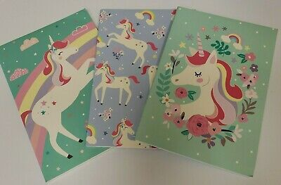 Whimsy Unicorn & Rainbows 3 Pack Lined Paged Notebooks 8.25 x 5.75 Open Package