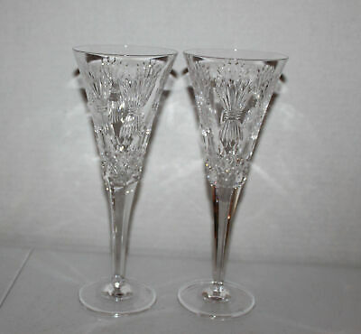 2 Waterford Crystal Champagne Toasting Flutes Stems Prosperity Millennium Series