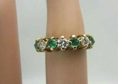 14K Yellow Gold Colombian Emerald and Diamond Wedding Band Ring 0.35 CT size 3