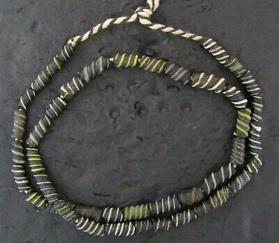 Ancient glass spiral striped beads 21 inch strand