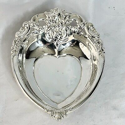Wallace Grand Baroque Sterling Silver Heart Shaped Candy Nut Jewelry Dish
