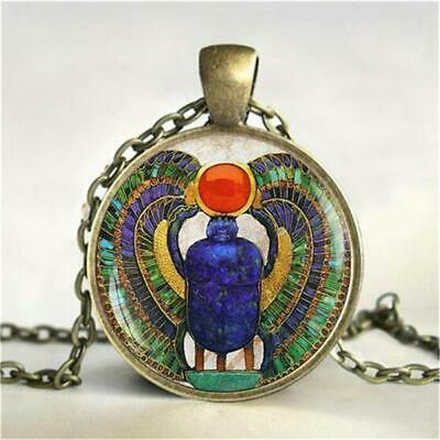 Egyptian Scarab Glass Dome Pendant Necklace