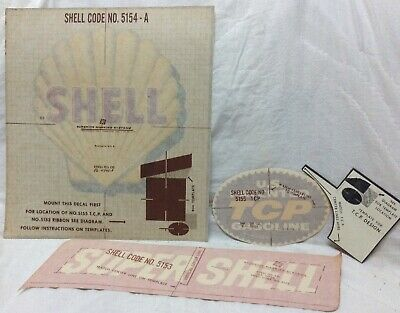 Vintage N O S Shell Oil Gas Pump Decal Rare Vintage 2 Sets