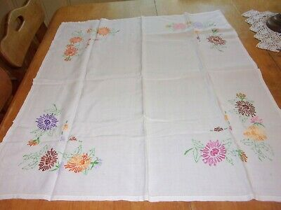 """Lovely Vintage Small  Embroidered Linen Tablecloth 30"""" X 32"""" Hemstitched Edge"""