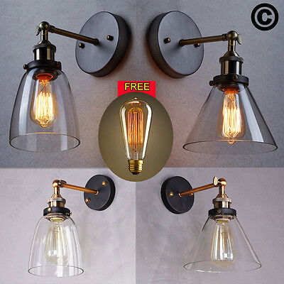 Vintage Industrial Loft Antique Brass Metal Glass Rustic Sconce Wall Light Lamp