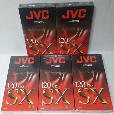 JVC T-120 SX 6 Hour High Performance Blank Video VHS Tapes NEW SEALED LOT OF 5
