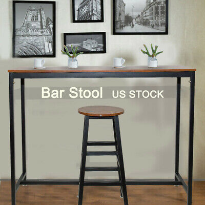 Vintage Round Bar Stool Metal Frame Wood Top Home Office Restaurants Pub Chair