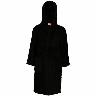 Kids Girls Boys 100% Cotton Soft Black Hooded Bathrobe Luxury Dressing Gown 2-13
