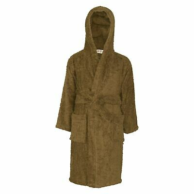 Kids Girls Boys 100% Cotton Soft Brown Hooded Bathrobe Luxury Dressing Gown 2-13
