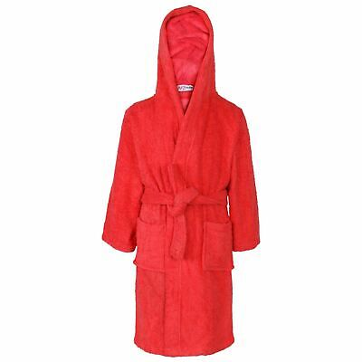 Kids Girls Boys 100% Cotton Soft Red Hooded Bathrobe Luxury Dressing Gown 2-13 Y