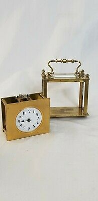 Antique French Brass Carriage Clock France Incomplete Sold Parts or Repair