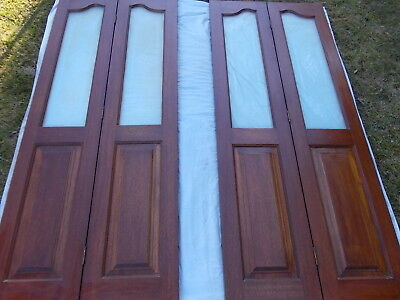 Doors Wood Bi-Fold With Frosted Glass Pattern 2 sets/pair (4 panels)