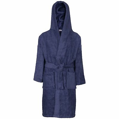 Kids Girls Boys 100% Cotton Soft Navy Hooded Bathrobe Luxury Dressing Gown 2-13Y