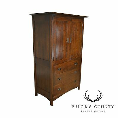 Stickley Mission Collection Oak Gentleman's Armoire Cabinet