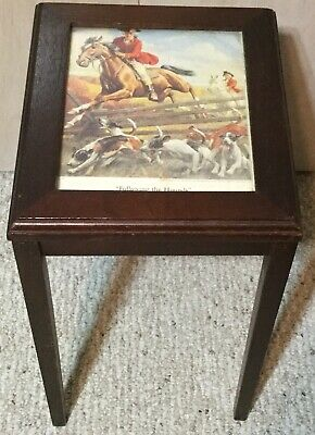 Fox Hunt Hunting Wood Side Table Following The Hounds