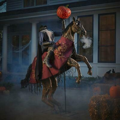 Halloween Props Life Size Decor Headless Horseman Animated Lighted Sounds Lights