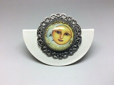 Silver Sun and Moon Brooch Handmade 35mm celestial space Jewellery gift bag