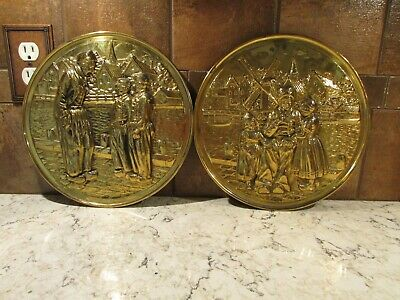"2 - Vintage Brass Embossed Wall Hanging Plates 11"" Across"