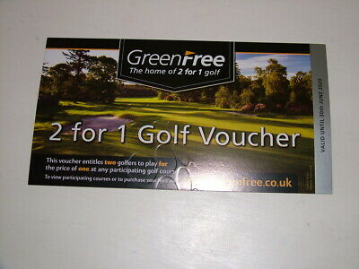 GREENFREE  2 for 1 golf voucher (valid to 30th June 2020) 1st Class Postage
