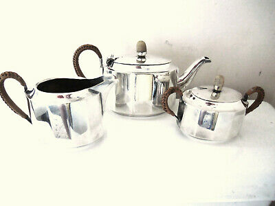 Rare Small 3Pc. French Art Deco Period Silver Plated Tea Set Rattan Handles