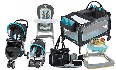 Baby Boy Stroller with Car Seat Travel Set Playard High Chair Walker Diaper Bag