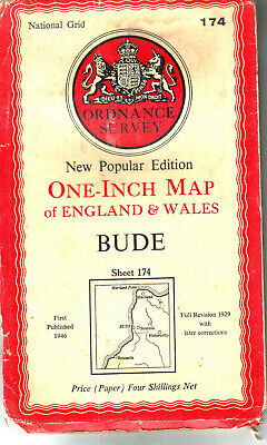 Bude One-Inch  Map Cost 4/- Ordnance Survey Vgc