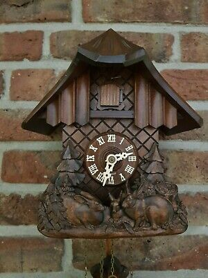 Black Forest Hand Carved Cuckoo Clock in Excellent condition ( around 1970)