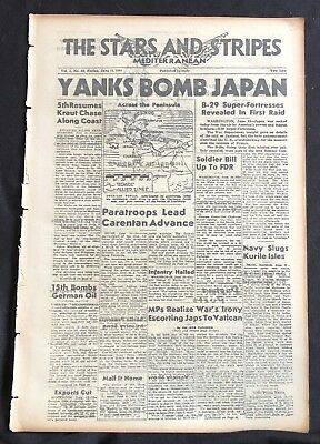 1944 WW II newspaper B-29 SUPERFORTRESS FLIES 1STEVER MISSION Bomber Raids Japan