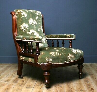 Attractive Large Antique Victorian Mahogany Upholstered Fireside Armchair Chair
