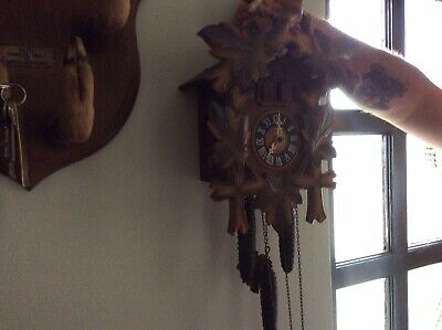 Vintage Cuckoo Clock With Cast Pine Cone Weights