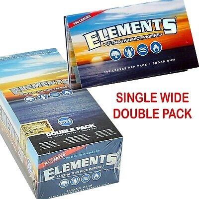 ELEMENT REGULAR SIZE RIZLA Thin Cigarette Rolling RICE Paper Booklet DOUBLE PACK