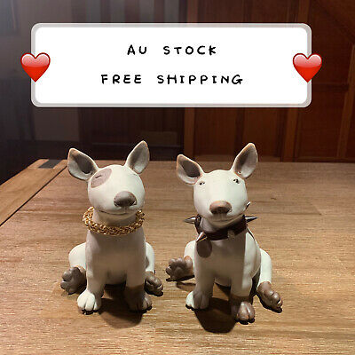 Two Patterns Ceramic Handmade Dog Bull Terrier Sculpture Figurine Statue DS2