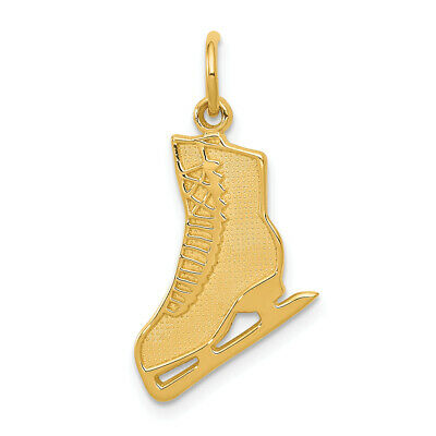 10k Yellow Gold Ice Skate Charm Pendant 20mmx11mm