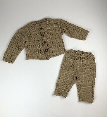 Unisex Baby Boy Girl Handmade Brown Knitted Sweater & Pants See Measurements