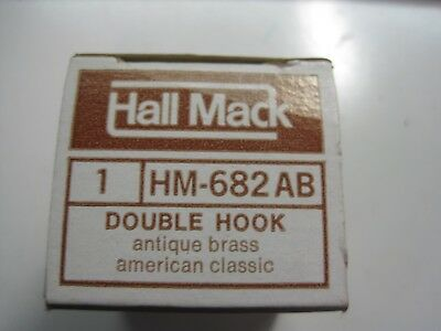 Mid-Century HALL MACK Antique Brass Double Robe Hook