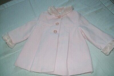 Baby girls clothes Mayoral faux fur trim coat 6-9m - combined postage available