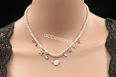 Sparkly crystal white pearl beads flower charms collar necklace girl jewelry S37