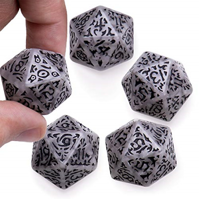 Battle-Scarred Jumbo d20 Polyhedral Dice 5-Pack | Distressed Giant Twenty-Sided