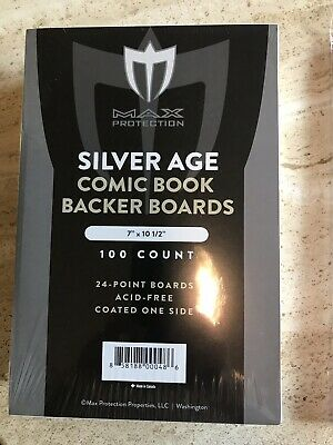 Pack 100 BCW Silver Age /Era Comic Book Acid Free Backing Boards with Bags.