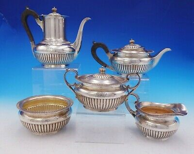 Dominick and Haff Sterling Silver Tea Set 5pc with Wood #134 Circa 1884 (#3575)