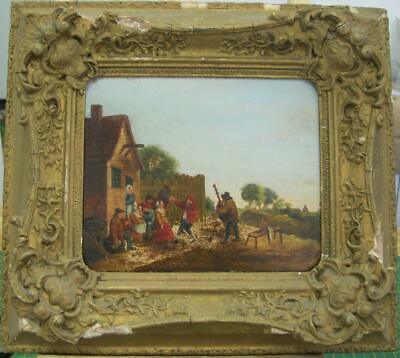 18thC Dutch old master oil painting - Revellers before tavern,