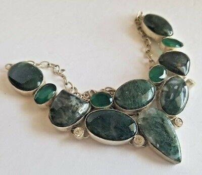 Moss Agate & Green Chalcedony Silver Fashion Collar Statement Necklace