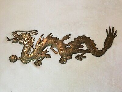 """Vintage Solid Brass Dragon Wall Hanging Large Figure Asian Decor 23"""""""