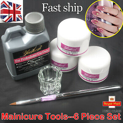 6 IN 1 Multi-color Nail Art Kits Acrylic Liquid Powder Pen Dappen dish Tool set~