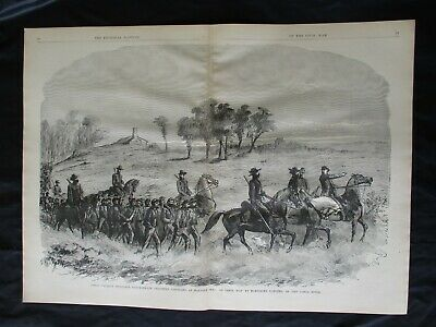 1885 Civil War Print- Union Cavalry Guarding Confederate Prisoners, Malvern Hill