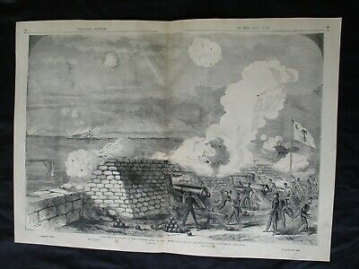 1885 Civil War Print - Confederate Attack on Fort Sumter 1861, From Ft. Moultrie