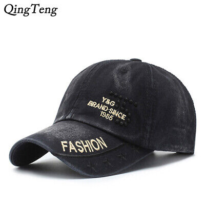 Vintage Washed Soft Cotton Embroidery Letters Baseball Snapback Sports Cap